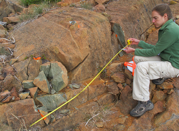 Taking measurements in Shear Zone A, Josephine Peridotite
